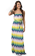 Black Bead® Women's Multi-Colored Scalloped Chevron Tie-Waist Strapless Maxi Dress