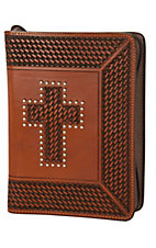 3-D Belt Company® Cognac Tooled Basket Weave Cross Leather Bible Cover