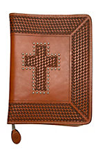 3-D Belt Company® Natural Tooled Basket Weave Cross Leather Bible Cover