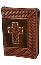 3-D Belt Company® CognacTooled Brindle Cross Leather Bible Cover
