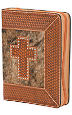 3-D Belt Company® Tooled Brindle Cross Leather Bible Cover