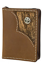 3-D Belt Company® Brown Studded Brindle Cross Leather Bible Cover
