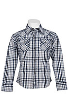 Wrangler® Boy's L/S Western Snap Plaid Shirt BJ12519