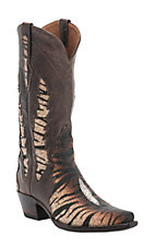 Black Jack Women's Black/Brown Tiger Stingray w/Inlay Triad Snip Toe Western Boots