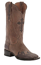 Black Jack Women's Distressed Old Forge Tan w/Rust Lizard Wingtip Cross Inlay Double Welt Square Toe Western Boots