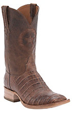 Black Jack Men's Burnished Brown Caiman Belly Exotic Square Toe Western Boots