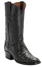 XTJBlack Jack Men's Black Caiman Flank French Toe Western Exotic Boots