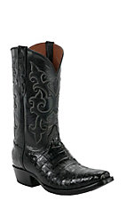 Black Jack Men's Black Caiman Belly w/ Goat Top Snip V-Toe Exotic Western Boots
