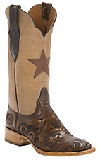 Black Jack� Women's Dark Brown Hand Tooled w/Pearl Maddog Top Double Welt Square Toe Western Boots