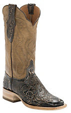 Black Jack� Women's Antique Taupe/Brown Hand Tooled w/Taupe Top Double Welt Square Toe Western Boots