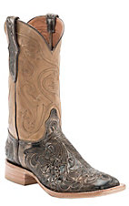 XTJBlack Jack Men's Antique Taupe/Brown Hand Tooled w/Taupe Top Double Welt Square Toe Western Boots