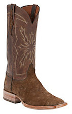 Black Jack® Men's Tan Hippo w/ Tan Maddog Goat Upper Wide Square Toe Exotic Western Boots