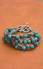 Turquoise and Pumpkin Bead and Silver Bracelet
