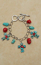 West & Co® Silver with Turquoise & Red Stone Cross and Charm Bracelet