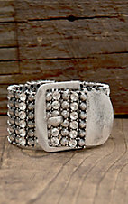 West & Co® Antique Silver with Rhinestones Buckle Bracelet
