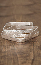 West & Co® Silver Hammered 3 Piece Square Bangle Bracelet Set