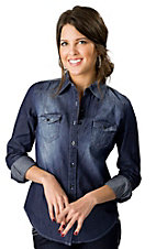 Cello® Women's Dark Denim Button Down Long Sleeve Fashion Top