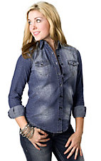 Cello® Women's Denim Leopard Button Down Long Sleeve Fashion Top