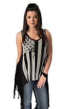 Black Bead® Women's Black Flag Screenprint with Fringe V-Neck Sleeveless Fashion Top