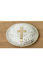 Crumrine Silver & Gold Cross Oval Buckle