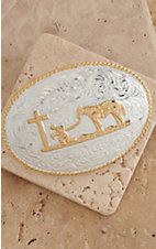 Crumrine Silver & Gold Praying Cowboy Oval Buckle