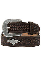 Justin® Mens Silver Wings Dark Brown Embossed Western Belt C12408
