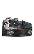 Justin® Mens 5 Star Ranch Black Floral Tool Western Belt C12423