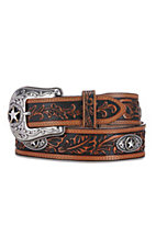 Justin® Mens 5 Star Ranch Tan Floral Tool Western Belt C12424