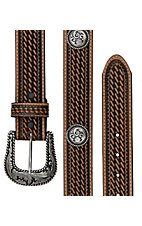 Justin® Mens Round Em Up Tan Basketweave Western Belt C12434