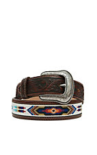 Justin Mens Pueblo Spirit White Beaded Western Belt C12625
