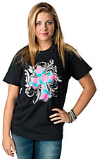 Cattlelac Style® Women's Black with Turquoise and Pink Damask Cross Short Sleeve Tee