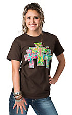 Cattilac Style® Ladies Brown with 3 Paisley Print Crosses Short Sleeve Tee