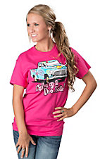 Cattilac Style® Ladies Hot Pink Chillin' On A Dirt Road Short Sleeve Tee