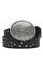 Tony Lama® Women's Black Pierced Filigree Trophy Belt