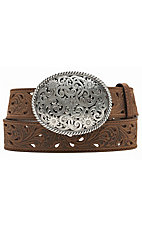 Tony Lama® Women's Brown Pierced Filigree Trophy Belt