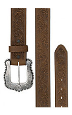 Tony Lama® Women's Bark Brown Layla Tooled Leather Western Belt C50739