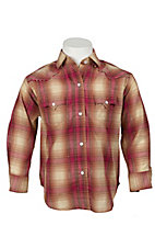 Panhandle Slim® Girl's Hot Pink & Tan Plaid Long Sleeve Western Shirt