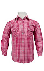 Panhandle Slim® Girl's Pink Plaid w/ Lurex Long Sleeve Western Shirt