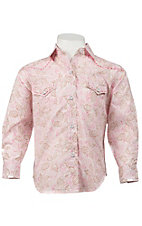 Panhandle Slim® Girl's Carolina Pink Floral Long Sleeve Western Shirt
