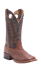 Cavender's Men's Peanut Smooth Ostrich w/ Sport Rustic Top Double Welt Square Toe Western Boots