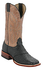 Cavender's® Men's Black Full Quill Ostrich w/ Bone Tan Top Saddle Vamp Double Welt Square Toe Exotic Western Boots