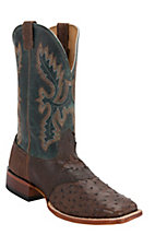 Cavender's Men's Kango Tobacco Rustic Full Quill Ostrich w/Teal Top Saddle Vamp Double Welt Square Toe Exotic Western Boots