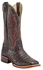 Cavender's Nicotine Brown Caiman Belly Square Toe Exotic Western Boots