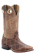 Cavender's Men's Rustic Brown Zig-Zag Stitch with Distressed Tan Top Double Welt Square Toe Western Boots