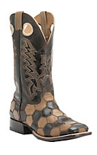 Cavender's Men's Sand & Chocolate Honeycomb Patchwork Double Welt Square Toe Western Boots