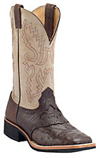 Cavender's® Kango Rustic Full Quill Ostrich w/ Ivory Top Double Welt Square Toe Exotic Crepe Sole Western Boots