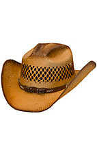 Cavenders® Brown Tea Stained Shantung Vent Straw Cowboy Hat