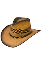 Cavenders® Toasted Shantung Vent w/ Scalloped Diamond Straw Cowboy Hat
