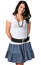 Cattlelac Ranch® Women's Light Denim Crinkle Short Broom Skirt