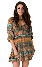 Fashion Fuse® Orange and Turquoise Long Sleeve Peasant Style Dress
